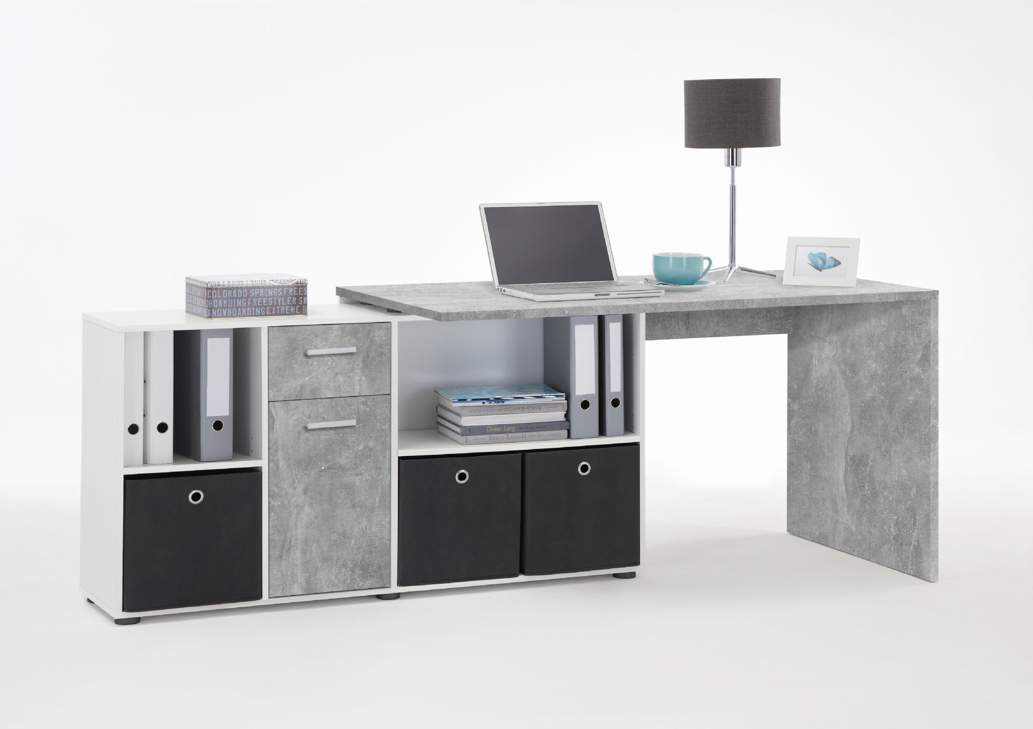 Luna L Shaped Computer Desk Grey By Furniturefactor